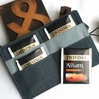 Travel teabag wallet - masculine colours - denim fabic - great for Fathers Day