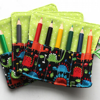 Dinosaurs Mini Pencil or Crayon Roll - stocking filler - party favour