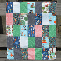 Modern patchwork baby quilt buggy blanket - soft minky backing - cats