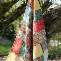 Unique patchwork baby quilt or buggy blanket - woodland - fleece backed