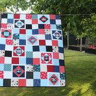 Toddler quilt - pirates - modern baby quilt - boys patchwork quilt