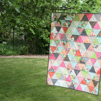 Fresh Cut - triangles quilt - lap quilt, throw or wallhanging - ready to ship