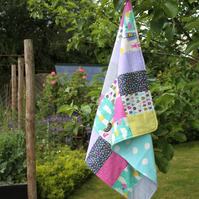 Windy Day - snuggly fleece-backed baby quilt - buggy blanket - comforter