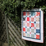 Simple modern baby quilt - red, white and blue - free UK delivery