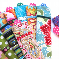 5 x Emery boards (nail files) in pretty cases - various fabrics