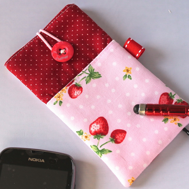 iPhone or Smart phone case - 'Strawberry Garden' - FREE UK P&P