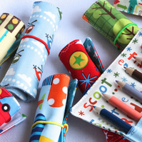 5 x Mini Pencil or Crayon Rolls - boy fabrics - stocking filler, party favour