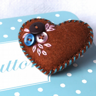 Little felt and button heart brooch - Chocolate, Teal - hand embroidered