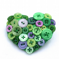 Heart brooch - Felt and buttons - 'Monet's Garden' - lilac, green