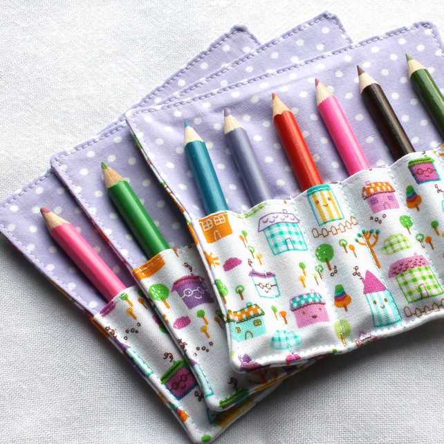 Mini Pencil or Crayon Roll - 'Cute Houses' - pink, blue - great party favour