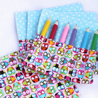 Mini Pencil or Crayon Roll - 'Little Owls' - pink, turquoise