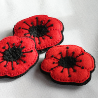 Poppy brooch for Remembrance Day - hand embroidered felt