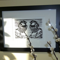 Sparrow Pair Limited Edition Original Lino Print