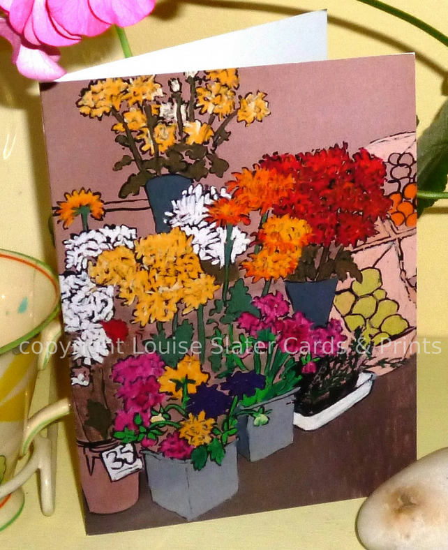Flower Market Stall Greeting Card