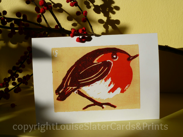 Christmas Robin - Yellow Background Pk of 5