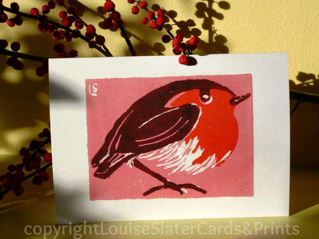 Christmas Robin - Pink Background Pk of 5