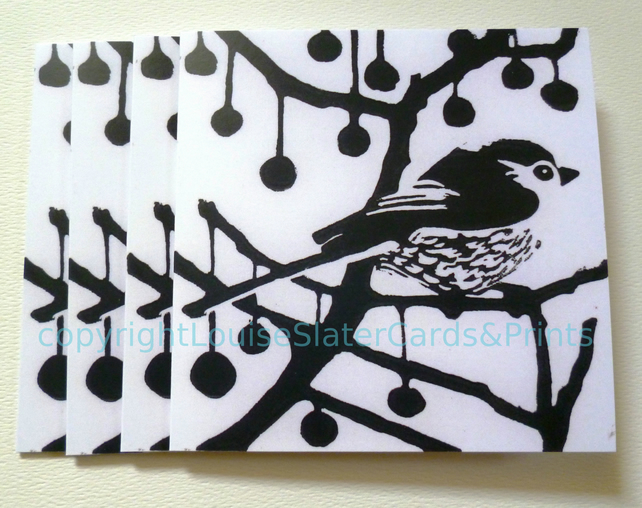 Black & White Longtail Greetings Card