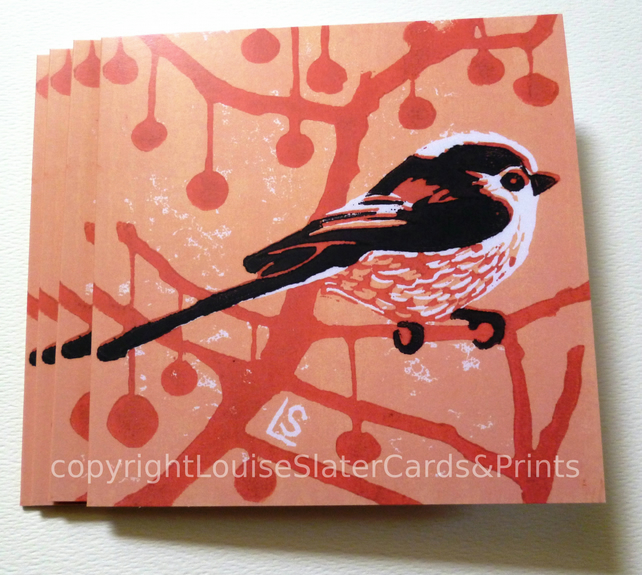 Pink & Black Longtail Greetings Card
