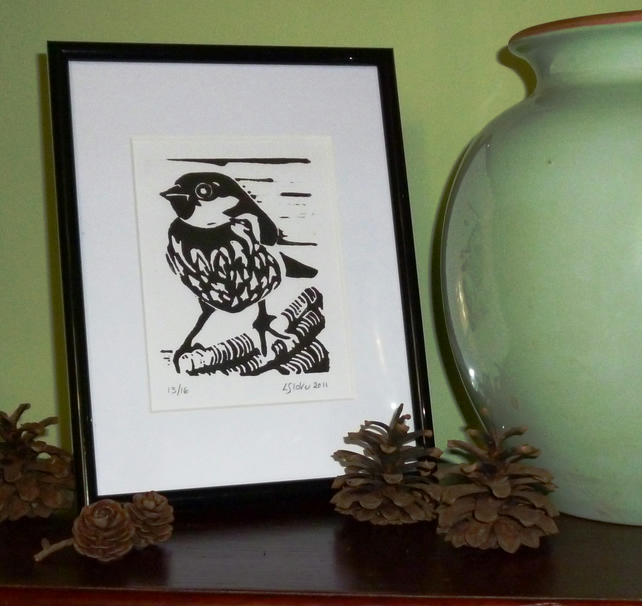 Sparrow Limited Edition Lino Print