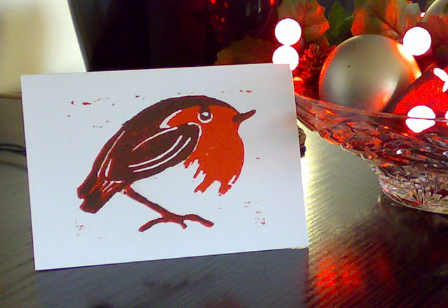 Christmas Robin - White Background Pk of 5