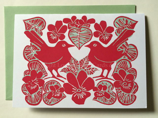 Love Birds & Violets Card in Red & Green