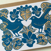 Blue Violets & Birds Card