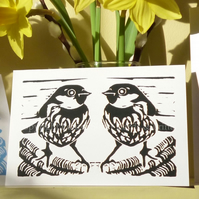 Sparrow Pair Black & White Greetings Card