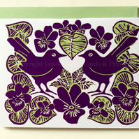 Purple Violets & Birds Card