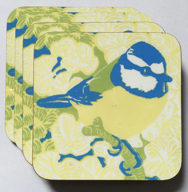 Blue Tit Coasters - Pk of 4