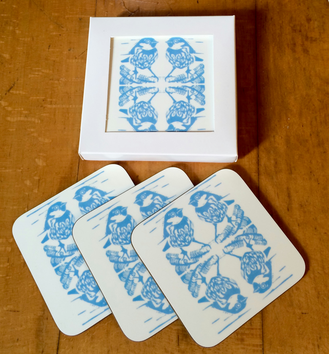 Blue Sparrow Coasters - Pk of 4