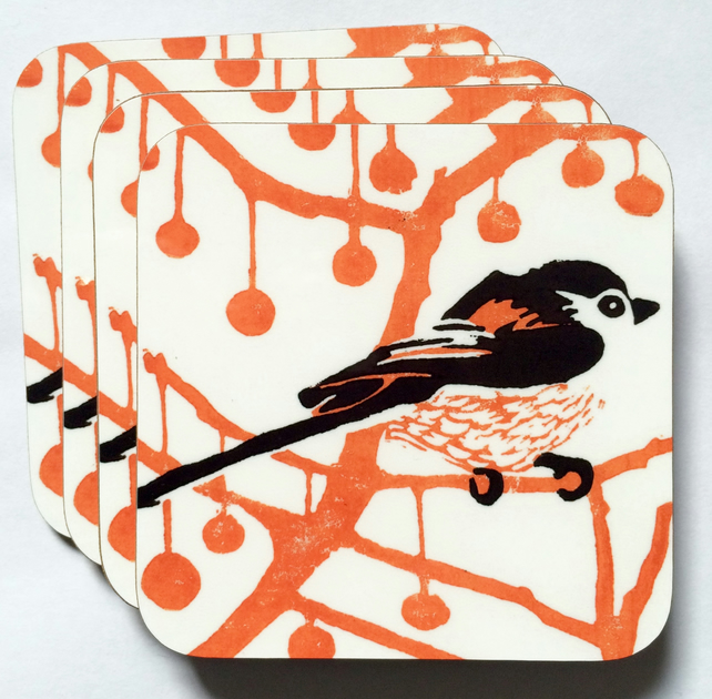 Orange & Black Longtail Coasters Gift Box of 4