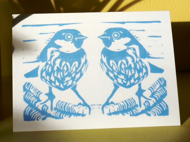 Blue Sparrows Greetings Card