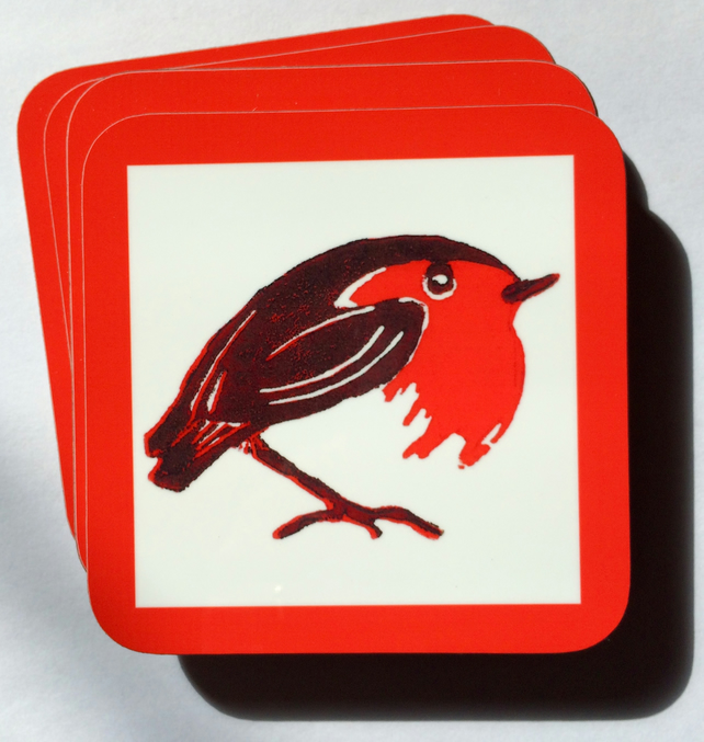 Robin Coasters Gift Box of 4