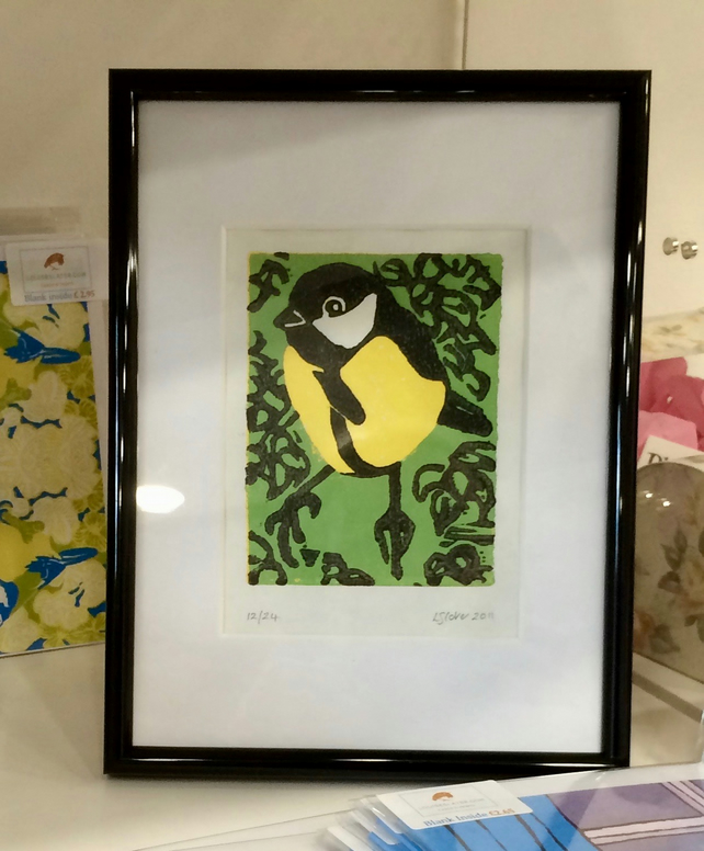 Great Tit Lino Print