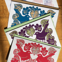 Pk of 4 Violets & Love Birds Cards