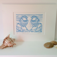 Blue Sparrow Pair Linocut Print