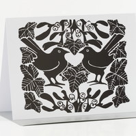 Black & White Mistletoe Christmas Cards Pk of 5