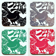 Pk of 4 Bird & Mistletoe Coasters