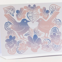 Love Birds & Violets Card - Rose Quartz & Serenity