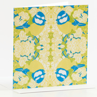Four Blue tits Greetings Card