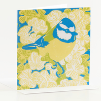 Blue tit yellow belly greetings card