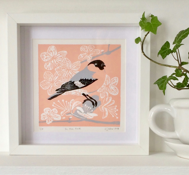 In The Pink - Bullfinch Linocut Print