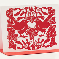 Red Mistletoe & Ivy Christmas Cards Pack of 5