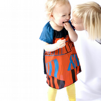 kirsten dress - baby child - bright graphic red black blue - spring frock