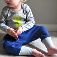 downtown aladdin pants - baby clothing - cobalt blue - baby boy girl harem 18-24