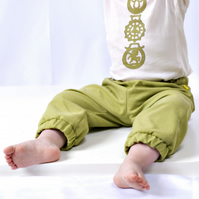modern baby set - pea green - trousers & top - 3 sizes - made in britain