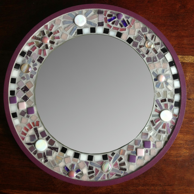 Purple Mosaic Circle Mirror