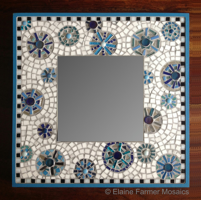 Turquoise Large Square Mosaic Mirror Folksy