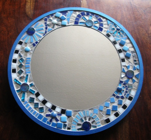 Blue Mosaic Circle Mirror
