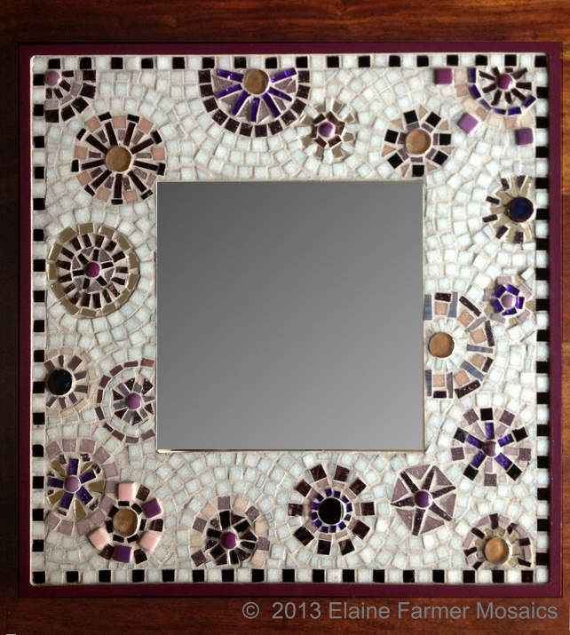 Purple Large Square Mosaic Mirror